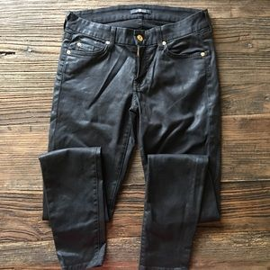 7 For All Mankind | Shiny Black Skinny Jeans 28